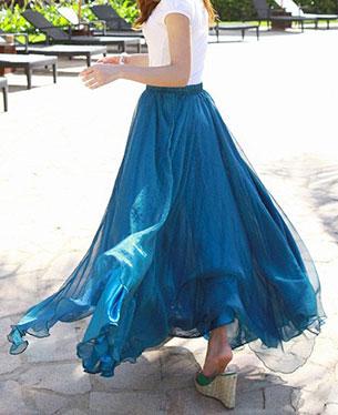 กระโปรง Maxi ชีฟอง สีน้ำเงินนกยูง