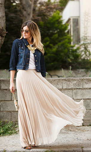 กระโปรง Maxi Zara เสื้อ Zara แจ็คเก็ต Naf Naf รองเท้า Giuseppe Zanotti สร้อยคอ New Look กระเป๋า Louis Vuitton