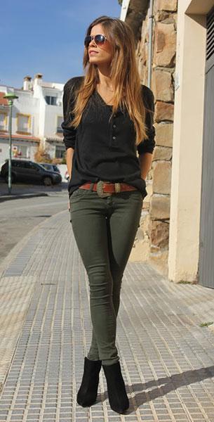 กางเกงยีนส์ สีเขียวขี้ม้า