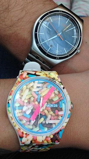นาฬิกา Swatch กรอบลายพิมพ์ หน้าปัดลายพิมพ์ สายลายพิมพ์ เข็มชมพู