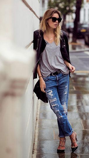 บอยเฟรนด์ยีนส์ Zara เสื้อยืด Olive Clothing แจ๊คเก็ต H&M รองเท้า Valentino Rockstud กระเป๋า Bracher Emden