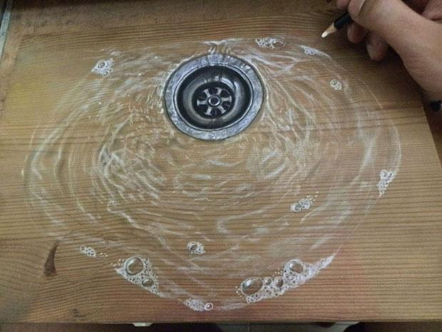 ภาพวาด 3 มิติ น้ำลงท่อ