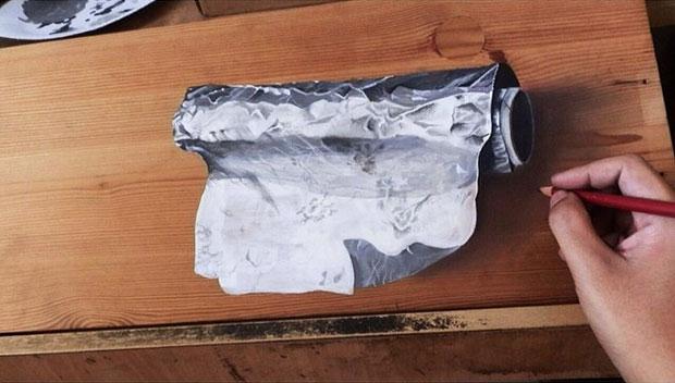 ภาพวาด 3 มิติ ม้วนกระดาษฟอยล์