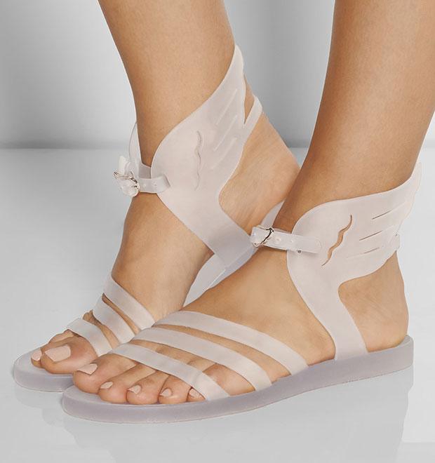 รองเท้าแตะยาง สีขาว มีปีก