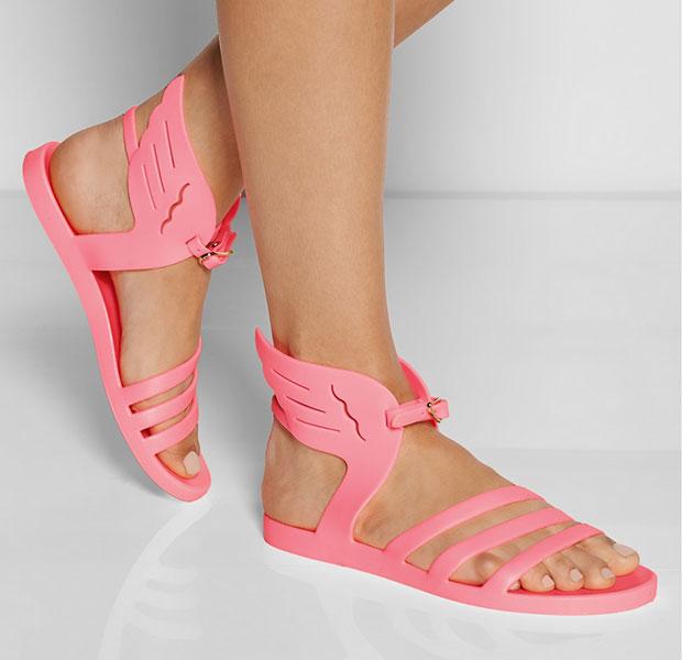รองเท้าแตะยาง สีชมพู มีปีก