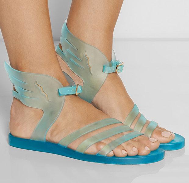 รองเท้าแตะยาง สีฟ้า มีปีก
