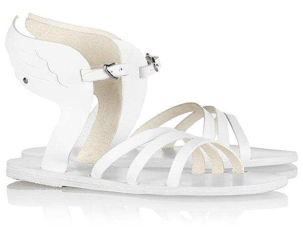 รองเท้าแตะหนัง มีปีก สีขาว