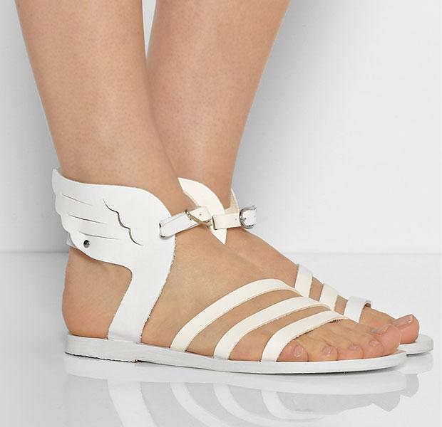 รองเท้าแตะหนัง สีขาว มีปีก