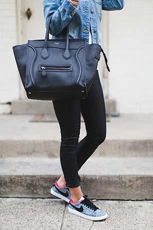รองเท้าไนกี้ เสื้อ TopShop แจ็คเก็ต Zara กางเกงยีนส์ G Star กระเป๋า Celine แว่นตากันแดด Karen Walker