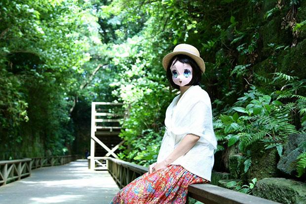 หน้ากากกระดาษการ์ตูนญี่ปุ่น ตาสีฟ้า