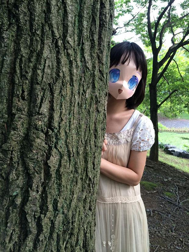 หน้ากากการ์ตูนญี่ปุ่น ตาสีฟ้า