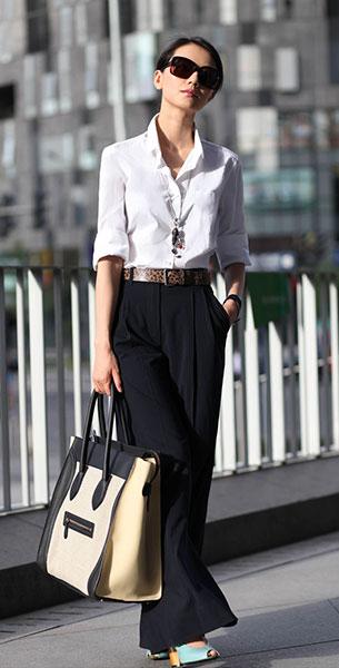 เสื้อเชิ้ต สีขาว กางเกงดำ กระเป๋า Celine