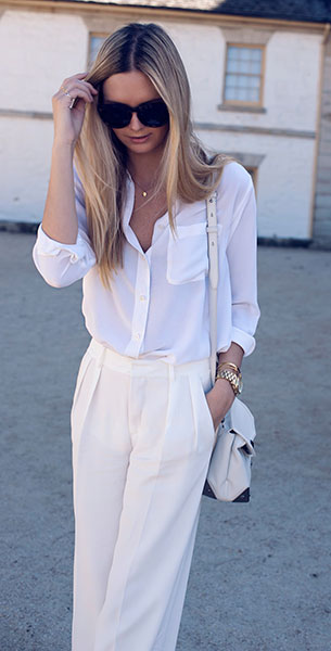 เสื้อเชิ้ต สีขาว Equipment กางเกง Zara กระเป๋า Alexander Wang รองเท้าส้นสูง Zimmermann แว่นตา Celine นาฬิกา Michael Kors