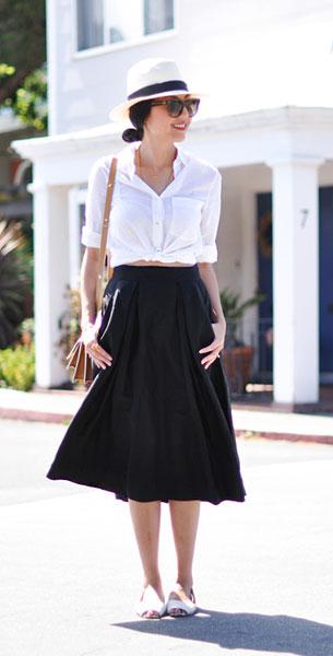 เสื้อเชิ้ต สีขาว  Everlane กระโปรง  Milly กระเป๋า Marni รองเท้า Saint & Libertine หมวก Cuyana แว่นตากันแดด Celine