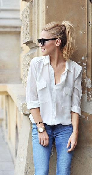เสื้อเชิ้ต สีขาว Zara กางเกงยีนส์ Mango กระเป๋า Kazar รองเท้า Kazar แว่นตากันแดด Asos