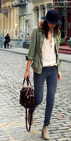 เสื้อแนวทหาร Volcom เสื้อเชิ้ต Club Couture กางเกง Design Lab รองเท้าบู้ท Dolce Vita กระเป๋า Rebecca Minkoff