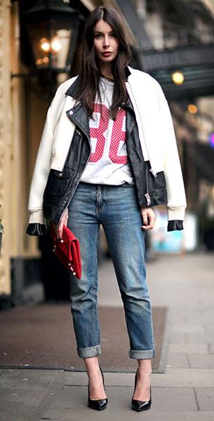 Boyfriend ยีนส์ ACNE แจ๊คเก็ต Never Denim สเว็ตเตอร์ BikBok กระเป๋า Balenciaga รองเท้า Saint Laurent