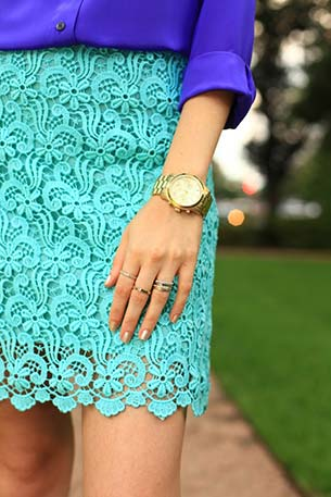 Color Block กระโปรง Zara เสื้อ J Crew นาฬิกา Michael Kors