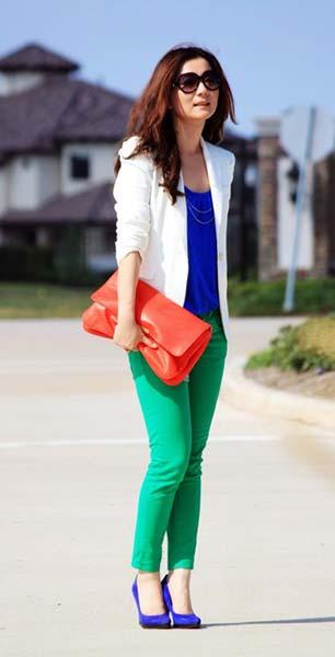 Color Block เสื้อ Abercrombie Fitch กางเกงยีนส์ Zara กระเป๋า Zara เสื้อคลุม Zara รองเท้า Nine West