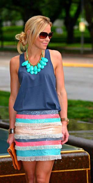 Color Block เสื้อ Nordstroms สีน้ำเงิน กระโปรง Zara สีลูกกวาด