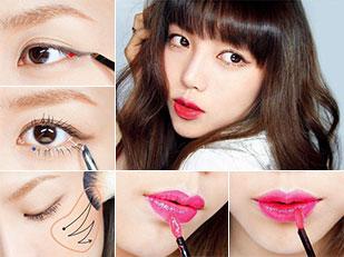 Korean Retro Red Lip Makeup Tutorial