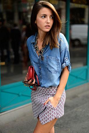 Skort Zara เสื้อเชิ้ต Bershka รองเท้า Zara กระเป๋า Yves Saint Laurent สร้อยคอ Zara