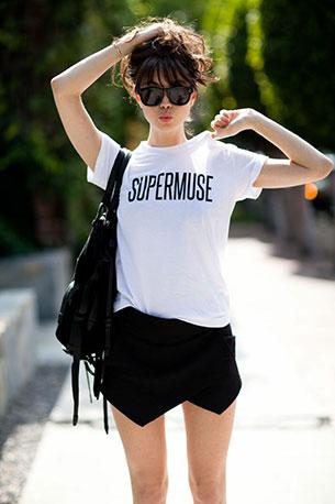 กางเกงกระโปรง Zara เสื้อโค้ท Zara เสื้อ Supermuse รองเท้าบู้ท Givenchy กระเป๋า Wang แว่นตากันแดด Celine