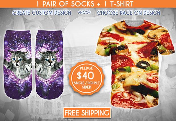 ถุงเท้าลายแมว เสื้อยืดลายพิซซ่า