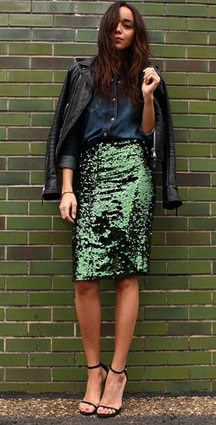 กระโปรงปักเลื่อม สีเขียว Topshop แจ๊คเก็ต Balenciaga เสื้อยีนส์ 7 For All Mankind กระเป๋า Saint Laurent
