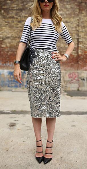 กระโปรงปักเลื่อม By Malene Birger เสื้อ Ann Taylor รองเท้า  Gianvito Rossi แว่นตากันแดด Karen Walker กระเป๋า Chanel