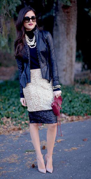 กระโปรงปักเลื่อม DownEast Basics เสื้อคอเต่า Caslon แจ๊คเก็ต Hinge รองเท้าส้นสูง Christian Louboutin กระเป๋า Rebecca Minkoff