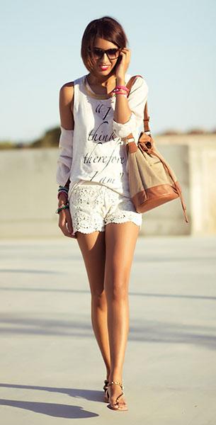 กางเกงขาสั้นลายลูกไม้ สีขาว Blanco เสื้อ  Zara เสื้อคลุม H&M รองเท้า Zara กระเป๋า Stradivarius