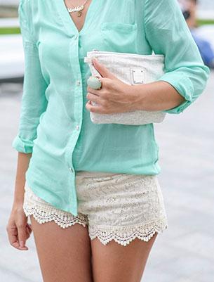 กางเกงขาสั้นลายลูกไม้ สีขาว Romwe เสื้อ Romwe รองเท้า Jessica Simpson กระเป๋า Mango แว่นตากันแดด Firmoo