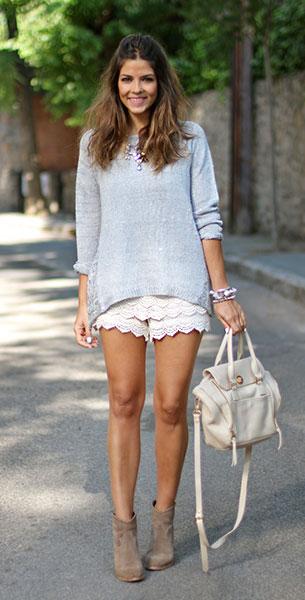 กางเกงขาสั้นลายลูกไม้ สีขาว UVE สเว็ตเตอร์ Suiteblanco รองเท้าบู้ท It Shoes กระเป๋า Sabrina Sarenza