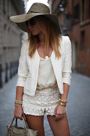 กางเกงขาสั้นลายลูกไม้ Zara เสื้อ Mango แจ็คเก็ต Mango รองเท้า Chanel กระเป๋า Balenciaga หมวก Zara แว่นกันแดด Miu Miu