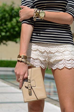 กางเกงขาสั้นลายลูกไม้ Zara เสื้อ Zara กระเป๋า Valentino รองเท้า Valentino นาฬิกา Michael Kors แว่นตากันแดด Celine