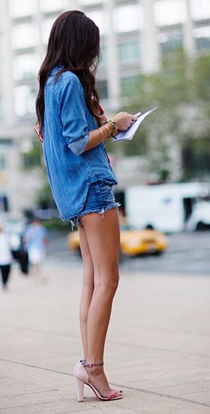 กางเกงยีนส์ขาสั้น เสื้อยีนส์