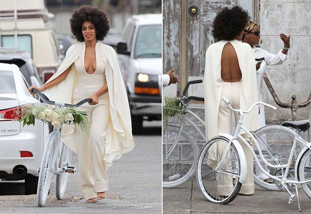 งานแต่งงาน Solange น้องสาวของ Beyoncé ขี่จักรยานสีขาว