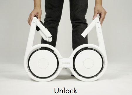 จักรยานไฟฟ้าแบบพับ ปลดล็อคและกางวงกลมออก