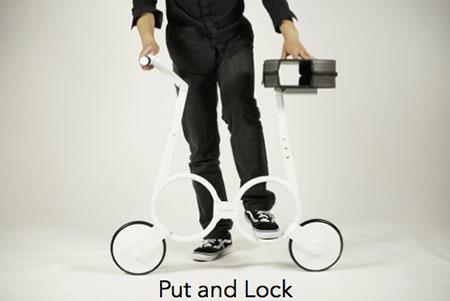 จักรยานไฟฟ้าแบบพับ วางที่นั่ง และล็อค