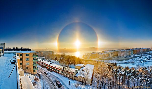 ภาพถ่าย พระอาทิตย์ทรงกลดบนฟากฟ้า Stockholm