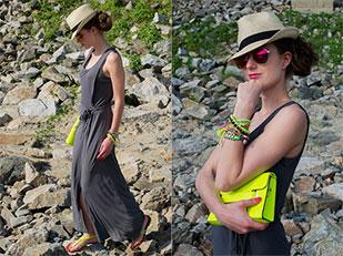 เดรส Glenfield, รองเท้า Pull & Bear Flats, กระเป๋า I AM, หมวก Bata, กำไล NewYorker, แว่นตากันแดด H&M