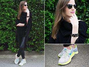 เลกกิ้ง Zara, เสื้อคลุม Vintage, รองเท้า Nike, แว่นตากันแดด Ray Ban, กระเป๋า Michael Kors, กำไล Michael Kors