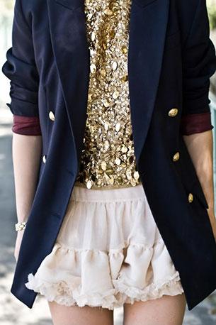 เสื้อปักเลื่อม สีทอง American Rag สื้อสูทสีน้ำเงิน กระโปรง Topshop รองเท้า Prada