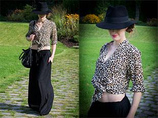 เสื้อลายเสือดาว H&M, กระโปรง Maxi H&M, รองเท้า H&M, หมวก Lindex, กระเป๋า Michael Kors