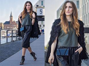 เสื้อหนัง Zara, แจ๊คเก็ต H&M, กางเกง Zara, กระเป๋า Floralpunk, กำไล Alexander McQueen, ต่างหู Floralpunk