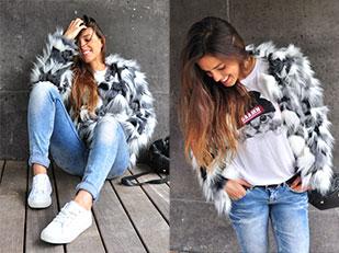เสื้อโค้ท Buylevard, กางเกงยีนส์ Bershka, เสื้อ H&M, กระเป๋า Zara, รองเท้า Springfield