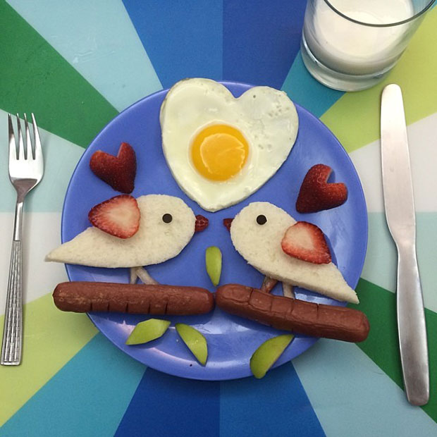 Food Art นก ไข่ดาวรูปหัวใจ