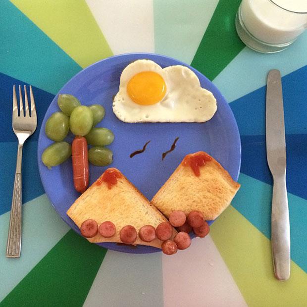 Breakfast Ideas ไข่ดาวรูปเมฆ ภูเขาไฟ