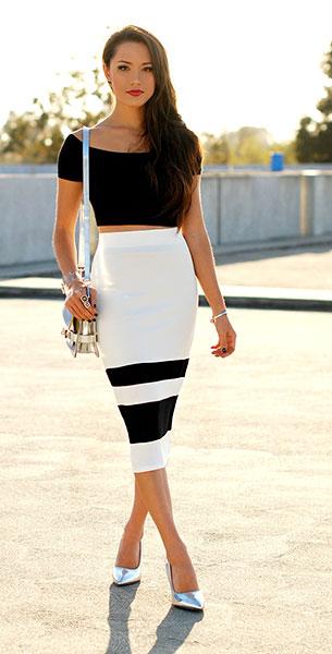 กระโปรงทรงดินสอ ขาวดำ Shoppiin เสื้อเอวลอยสีดำ Asos กระเป๋า DailyLook รองเท้าส้นสูง Choies
